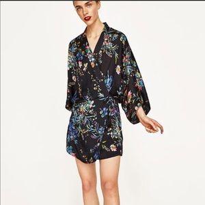Zara Kimono flower black dress